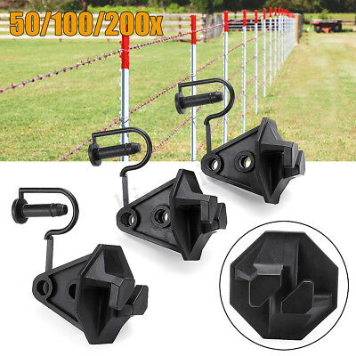 """50-200PCS 1.6"""" Nail-on Electric Fence Insulator Pin Lock Steel Post Tape"""