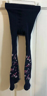 Girls Cotton Knit Navy Blue Floral Tights Size 2-4T