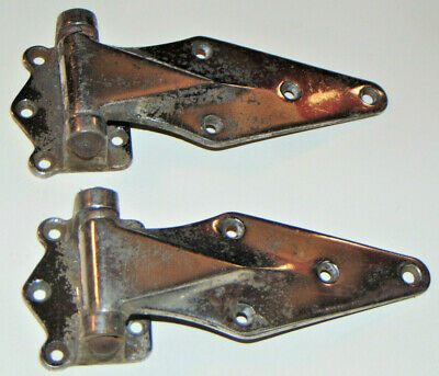 2 Vintage Kason Hardware 1071 Hinges! Forged Brass! Chrome Plated! Made In Usa!