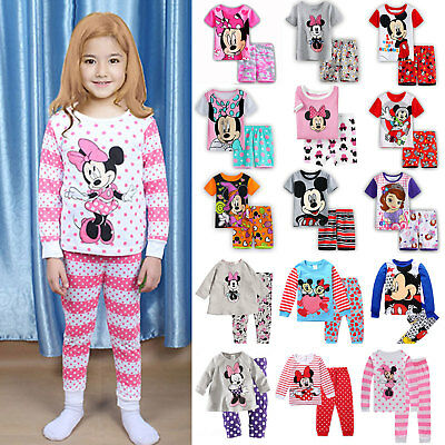Kid Boys Girls Mickey Mouse Printed Cotton Soft Nightwear Set Tops Pants Clothes