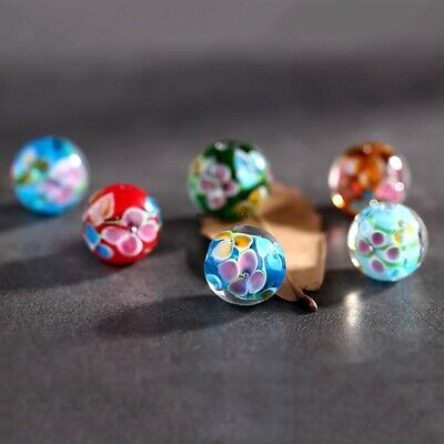 For Necklace Glass Beads Flower Spacer Loose DIY Jewelry Making Round 12mm
