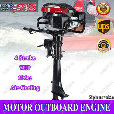 HANGKAI Outboard Motor 4 Stroke 7 HP Boat Engine 196cc Air-Cooling CDI System US