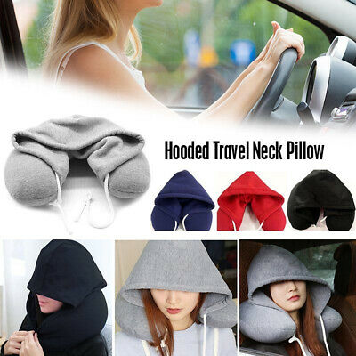 Hooded Travel Pillow Cushion Car Office Airplane U-Shaped Head Rest Neck Support