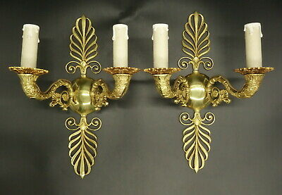 Large Pair Of Sconces, Palm-Leaves Decor, Empire Style - Bronze - French Antique