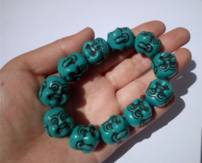 Chinese Decorated Resin Carved Green Buddha Head Lucky Braclet Bangle