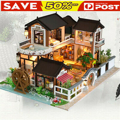 AU DIY Wooden Doll House Toy Gifts Miniature Kit Ancient Architecture Dollhouse