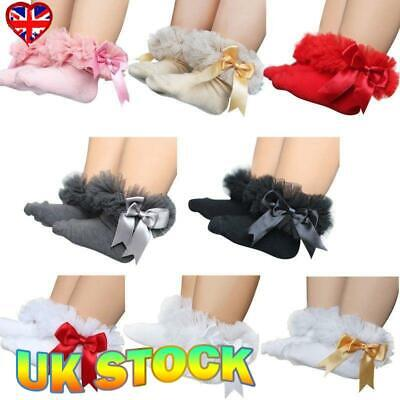 Kids Baby Girls Bow Lace Princess Tutu Socks Toddler Frilly Cotton Ankle Socks