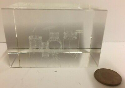 Laser 3D Etched drum kit Block Glass Ornament / Gift / Paperweight GC