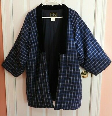 Vintage Japanese Traditional Kurume Hanten Haori Blue Padded Kimono Coat Jacket
