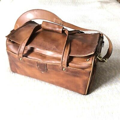 Vintage Hartmann Luggage Leather Duffel Gym Bag Carry On Weekender Made in USA