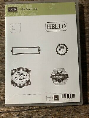 Stampin Up Label Something Clear Mount Red Rubber Stamp Set