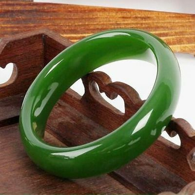 Chinese Natural Beautiful Emerald Green Nephrite Jade Bangle Bracelet 60mm