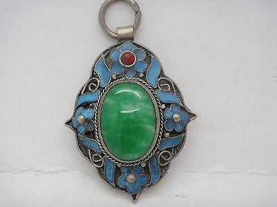 Chinese handwork tibet-silver inlay old green jade Cloisonne blue Flower Pendant
