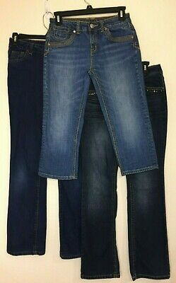 LOT of 3 Girls Blue Denim Jeans/Capris-Justice, Squeeze & Faded Glory (Size 14)
