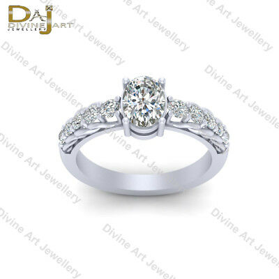 Solid 925 Sterling Silver Trellis Setting Diamond Engagement Ring Promise Ring