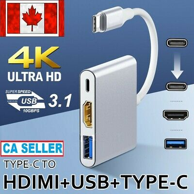 Type-C USB-C to Female 3 IN 1 USB 3.1 HUB 4K HD HDMI Data Charging Cable Adapter