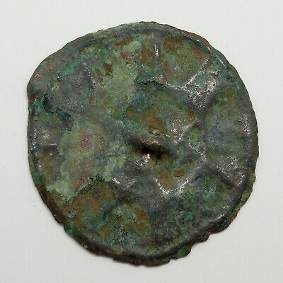 Bronze Small Mirror Pendant / Solar sign / Coin 37mm. Viking 400-700AD. Rare