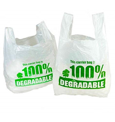 "White Vest Carrier Bags 100% Degradable - Jumbo 13 x 19 x 23"" - Eco Friendly 300"