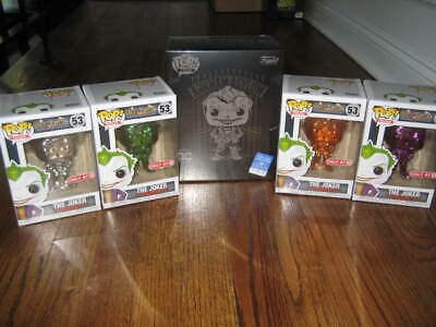 Funko POP The Joker NYCC lot of 5! 4 Target Exclusive Chrome + Pop Tee Large