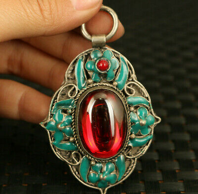 chinese rare old cloisonne tibet silver inlay red zircon  pendant fine gift