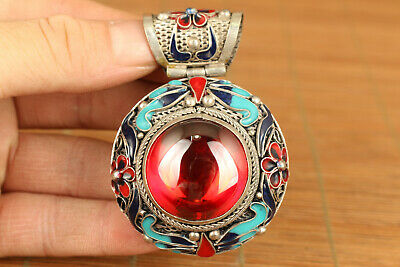 big chinese tibet silver inlay red zircon jewel stone cloisonne pendant amulet