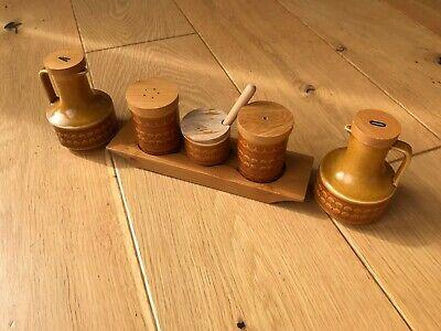 Hornsea Pottery Saffron Salt & Pepper Oil & Vinegar Cruet Set Mid Century Modern