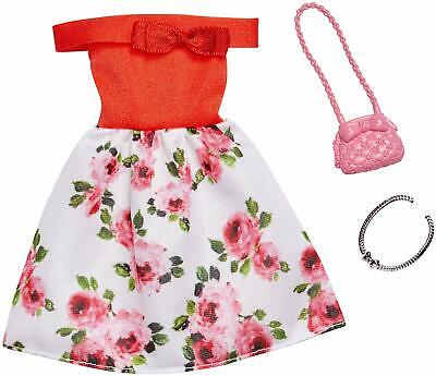 Barbie Complete Looks Red Bodice Floral Skirt Dress Fashions 5 Pack New