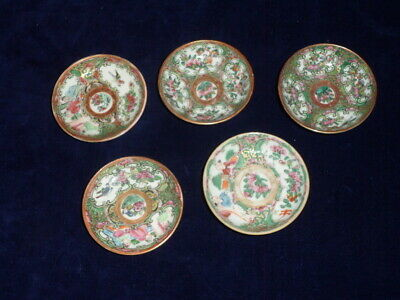 5 Antique Chinese Rose Medallion Salts - Butter Plates