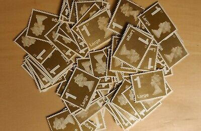 100 Unfranked Large Gold First Class Stamps (OFF PAPER NO GUM)