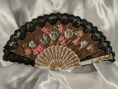 Vintage Hand Painted Fabric and Black Lace Folding Fan Floral Flowers