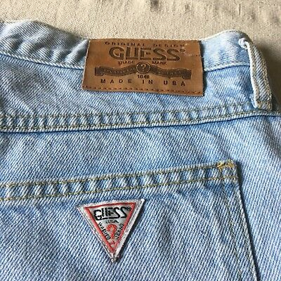 "Vtg 80s Guess Denim High Rise Buttonfly Shorts Light Wash 33"" Waist x 12"" Rise"
