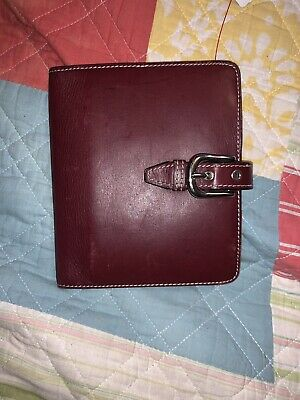 franklin covey genuine red leather wallet / card holder