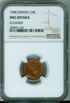 Straits Settlements 1908 1/4 Cents Ngc Unc Details Cleaned