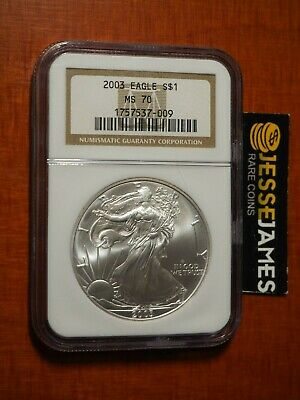 2003 $1 American Silver Eagle Ngc Ms70 Classic Brown Label