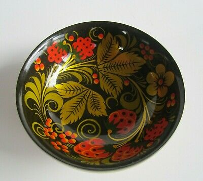 Vintage Small Hand Painted Bowl Lacquered Wood USSR Soviet Union Black/Red/Gold