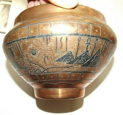 Vintage Heavy Copper Hammered Handmade Bowl Egypt Pyramids Camel Sphinx