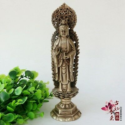 China old  ornaments white Copper Silver plating  Guanyin  Statue