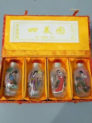 4P Chinese INSIDE HAND PAINTING GLASS Hand-Painted beauty Snuff Bottles statue