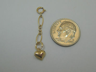 """1.25"""" 14k Yellow Gold Long and Short Chain Necklace Extender With Puffed Heart"""