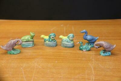 Collection Of Old Miniature Chinese Porcelain Fu Dogs, Ducks And Cat 7Pc.