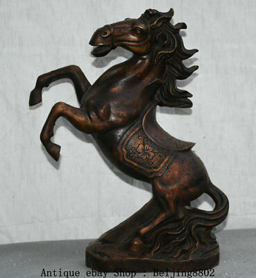 """13"""" Old China Bronze Dynasty Stand Running Horse Animal Success Statue Sculpture"""