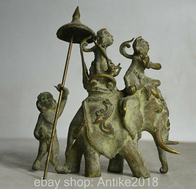 14cm Collect Antique Old Chinese Bronze People Ride Elephant Statue Sculpture