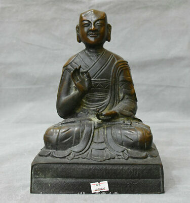 "10"" Old Tibet Red Copper Bronze Je Tsongkhapa Guru Lama Buddha Sculpture"