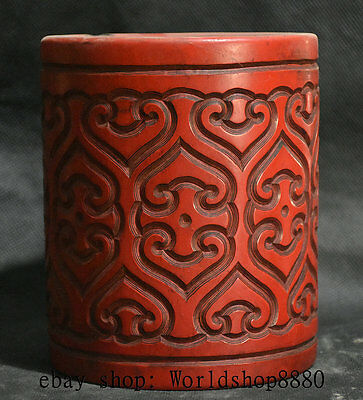 """6"""" Qianlong Marked Old Chinese Red Lacquerware Dynasty Brush Pot Pencil Vase"""