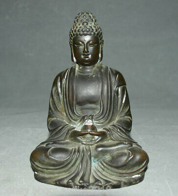 "7.6"" Old Tibet Red Copper Bronze Buddhism Shakyamuni Amitabha Buddha Sculpture"
