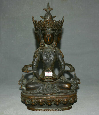 "12.8"" Old Tibetan Red Copper Bronze Buddhism 4 Face Kwan-yin Goddess Sculpture"