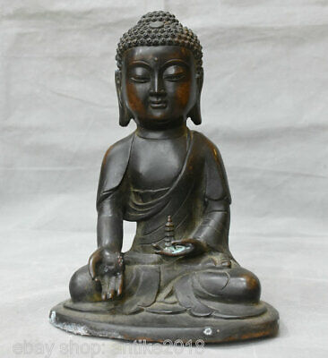 "11.2"" Old Tibetan Red Copper Bronze Shakyamuni Amitabha Buddha Pagoda Sculpture"