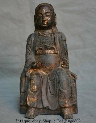 """9"""" Chinese Old Antique Bronze Seat Dynasty Palace Civil Official Minister Statue"""