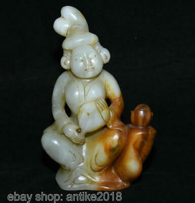 """5"""" Old Chinese Nephrite Hetian Jade Palace Tang Dynasty Belle Fan Pot Sculpture"""