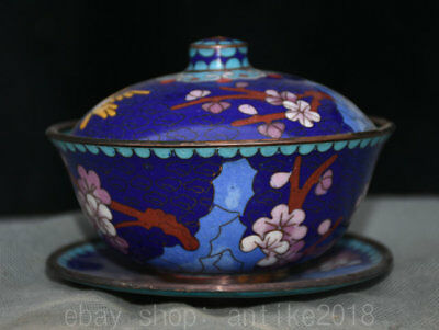 "4"" Collect Old China Cloisonne Bronze Dynasty Palace Lid Tea Pot Cup Cann Bowl"